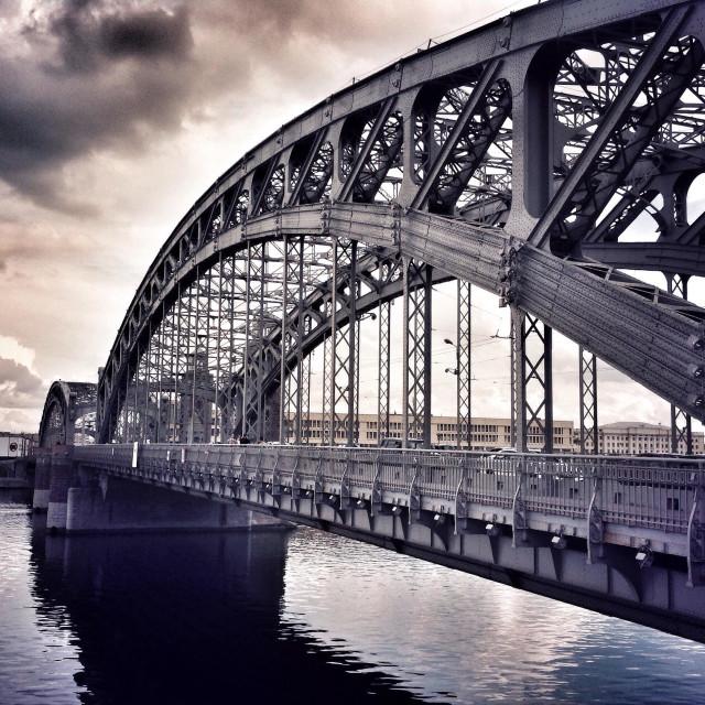 """Peter the Great Bridge in Saint Petersburg, Russia"" stock image"