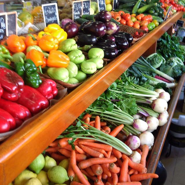 """Fresh fruit and veg at a market"" stock image"