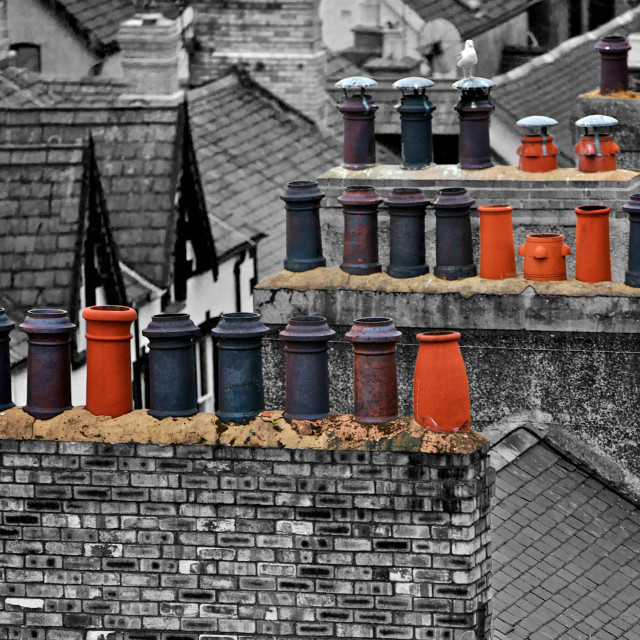 """Old Chimneys in Wales"" stock image"