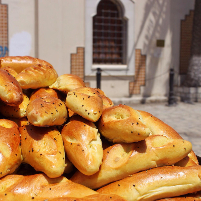 """""""A pile of bread in Sousse, Tunisia"""" stock image"""