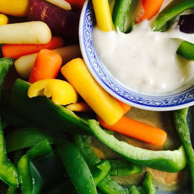 """Colorful veggies and dip"" stock image"