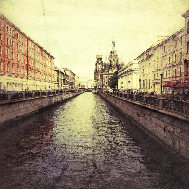 """""""Saint Petersburg canal and cathedral"""" stock image"""