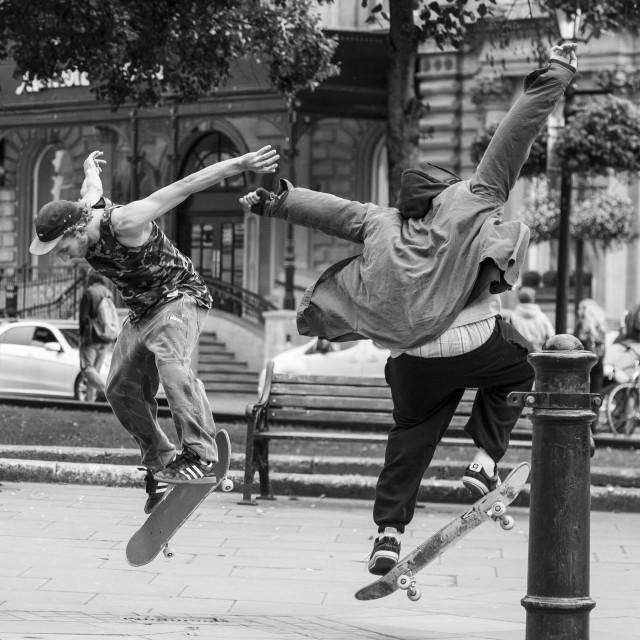 """""""Synchronised skateboarding."""" stock image"""