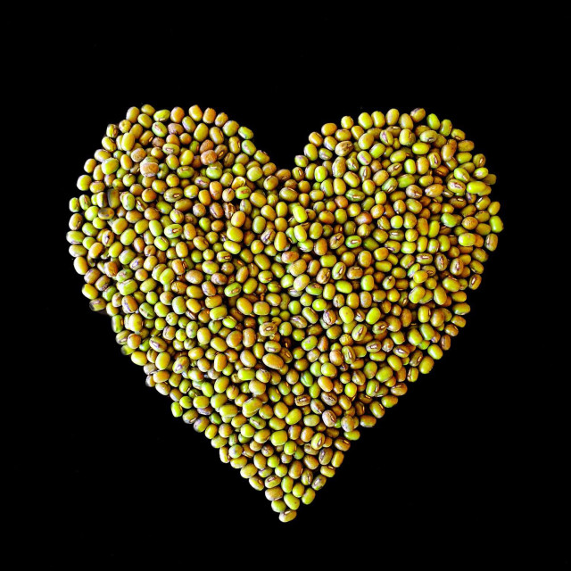 """""""heart shape with green mung beans"""" stock image"""