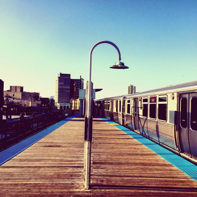 """Train platform on a late summer afternoon"" stock image"