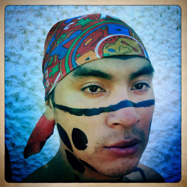"""""""A Mayan ball players from Guatemala at the opening ceremony of the first ¨Pok Ta Pok¨ Mayan ball game World Cup en Piste, Tinum, Yucatan, Mexico."""" stock image"""