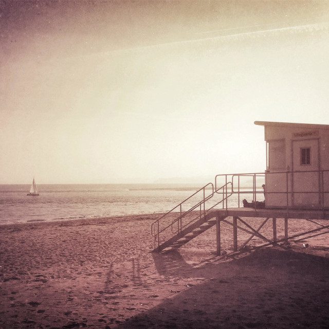 """Beach lifeguard station Exmouth Devon U.K."" stock image"