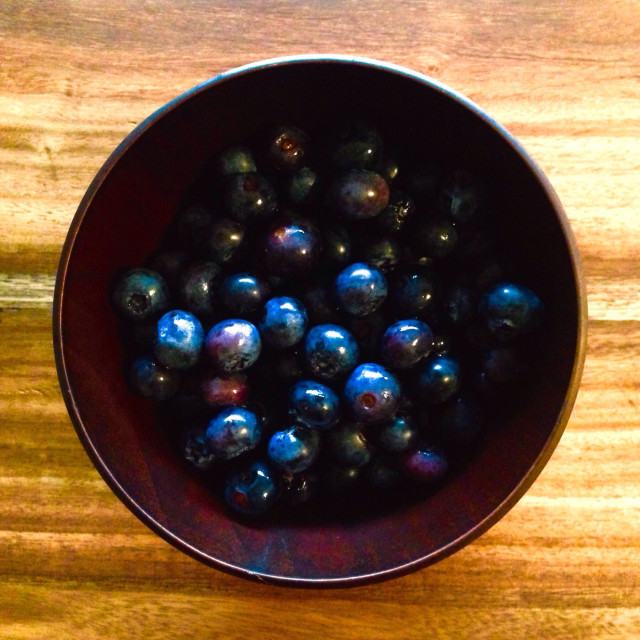 """Bunch of bilberries in a bowl"" stock image"