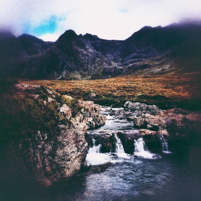 """Fairy pools, Isle of Skye, textured filters"" stock image"