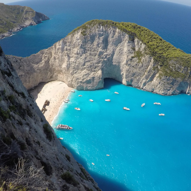 """Shipwreck beach at Navagio beach in Zakynthos, Greece"" stock image"