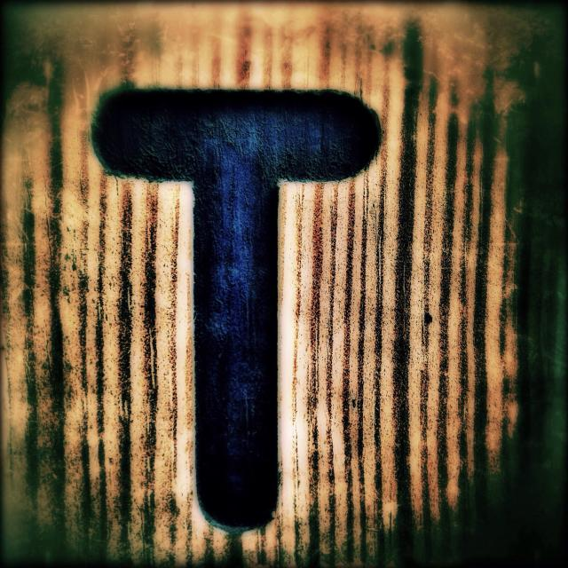 """The letter T on a wooden surface, London, England, United Kingdom, Europe"" stock image"