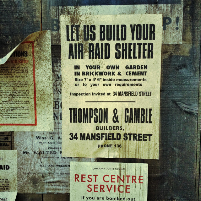 """A Second World War Air Raid Poster"" stock image"