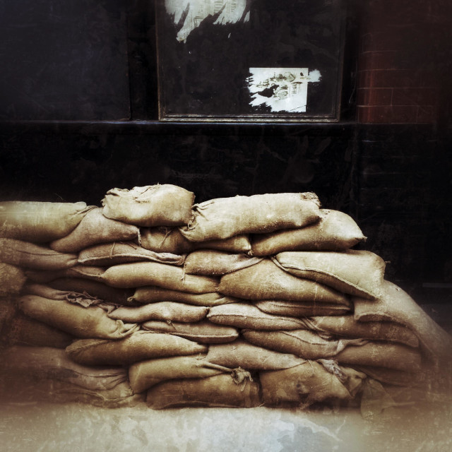 """""""Sand Bags outside a doorway in London"""" stock image"""