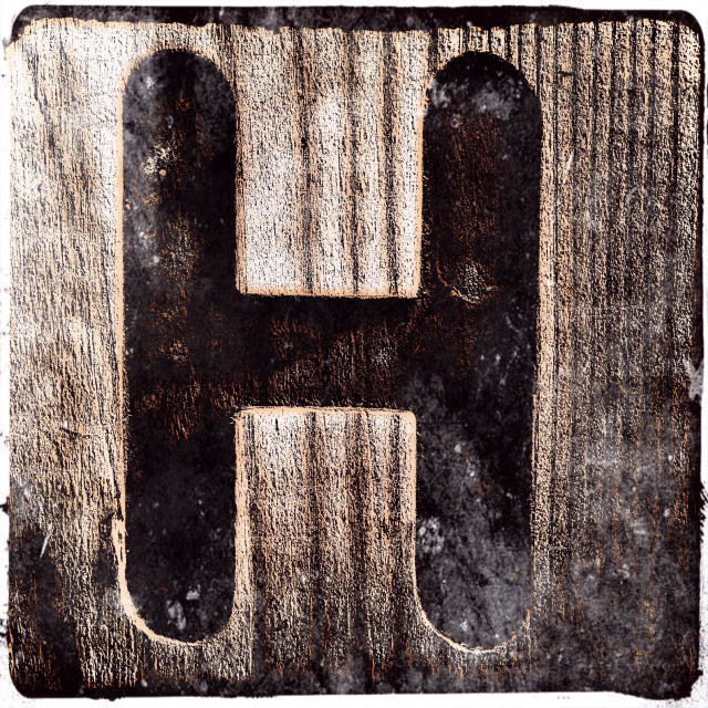 """The letter H on a wooden surface, London, England, United Kingdom, Europe"" stock image"