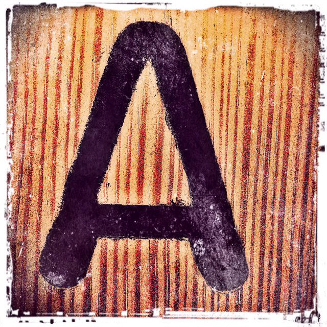 """The Alphabet A on a wooden surface, London, England, United Kingdom, Europe"" stock image"