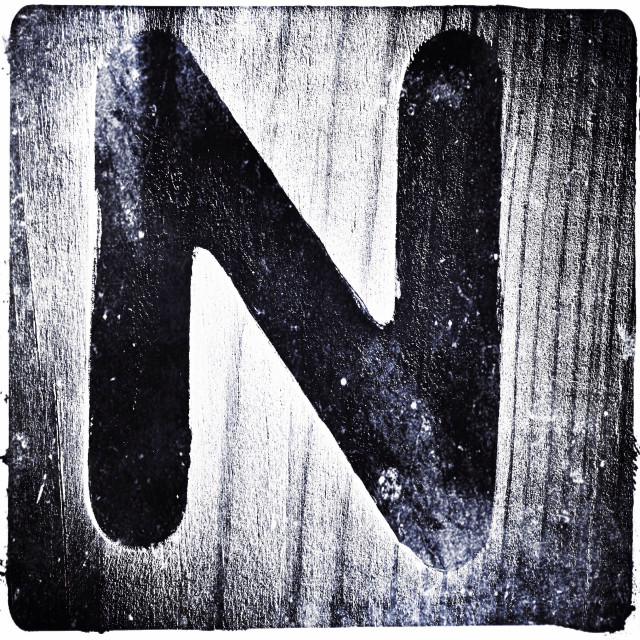 """The letter N on a wooden surface, London, England, United Kingdom, Europe"" stock image"