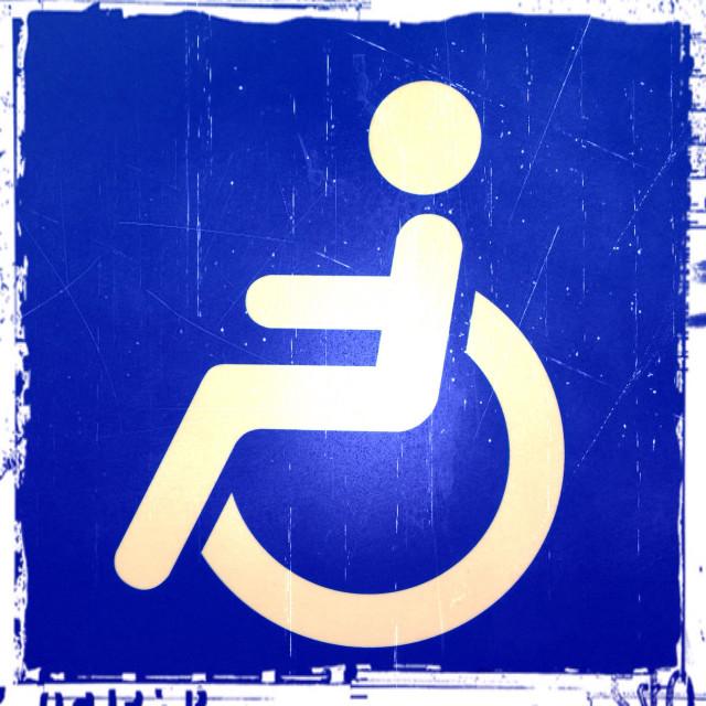 """Disabled sign in underground station, London, England, United Kingdom, Europe"" stock image"