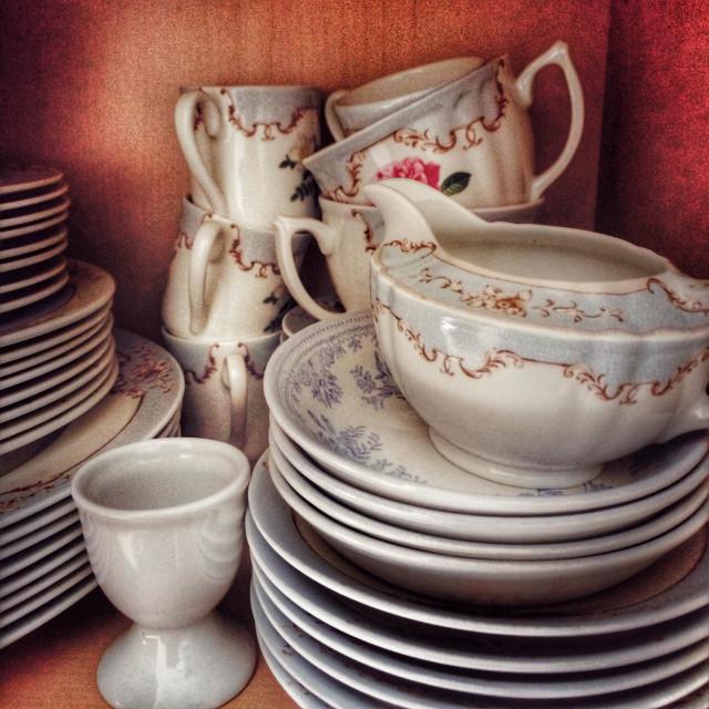 """Old crockery cupboard"" stock image"