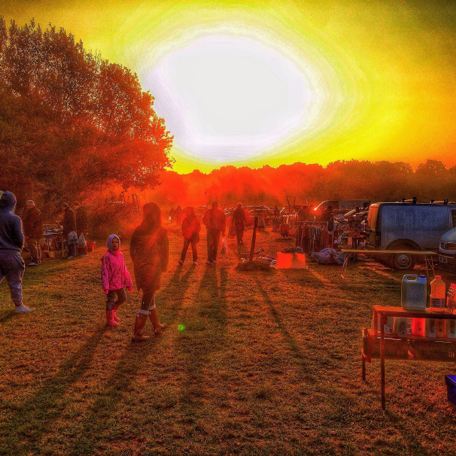"""Boot sale sunrise and shadows."" stock image"