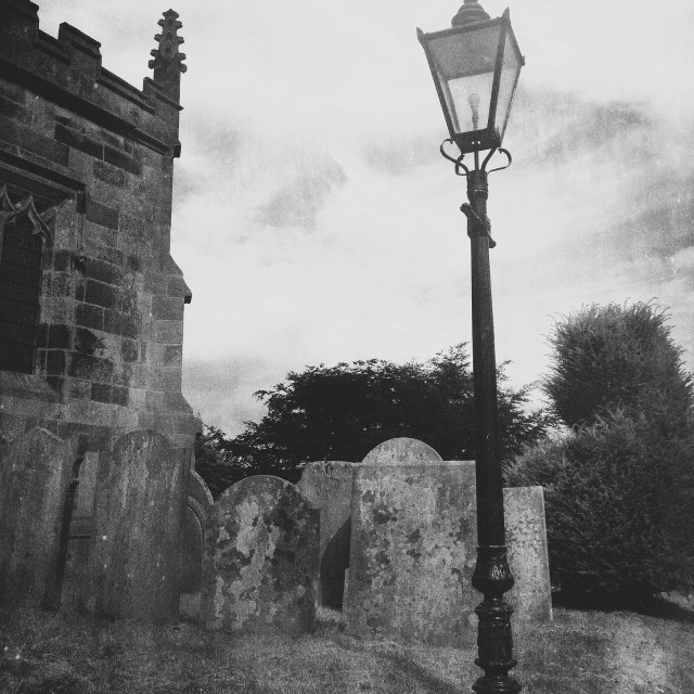 """""""Lamp in grave yard"""" stock image"""