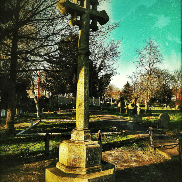 """Church burial yard, Wembley, London Borough of Brent, north West London, England, United Kingdom, Europe"" stock image"