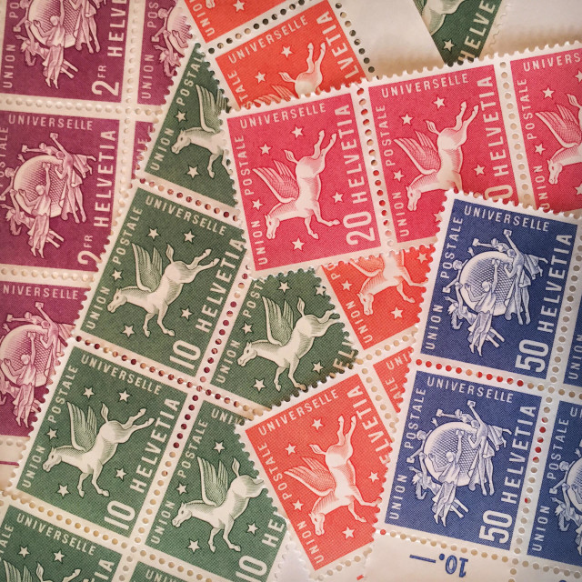 """""""Colourful stamps produced for the Universal Postal Union"""" stock image"""