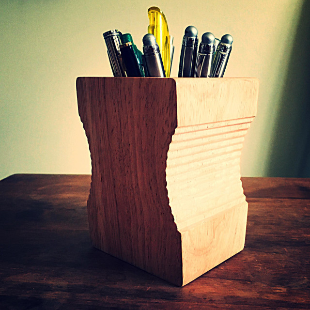 """""""Pen holder in the shape of a pencil sharpener"""" stock image"""
