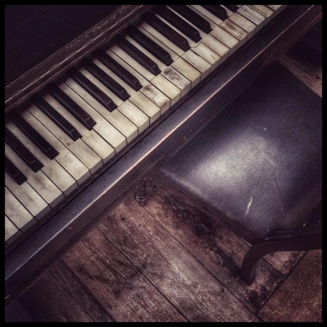 """Antique piano in Genadendal museum."" stock image"