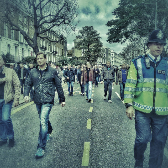 """Chelsea fans on their way to the match."" stock image"