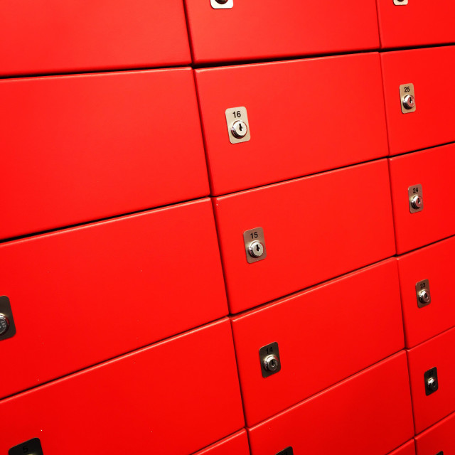 """""""Numbered red safety deposit boxes."""" stock image"""