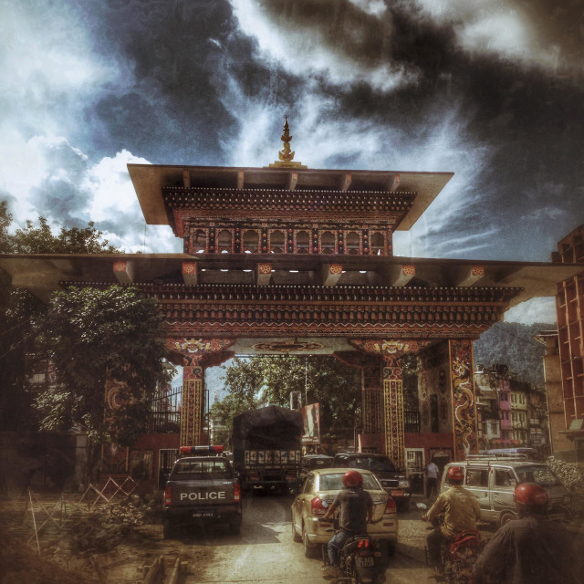 """Gateway border between Bhutan and India. Phuentsholing, Bhutan, Asia."" stock image"