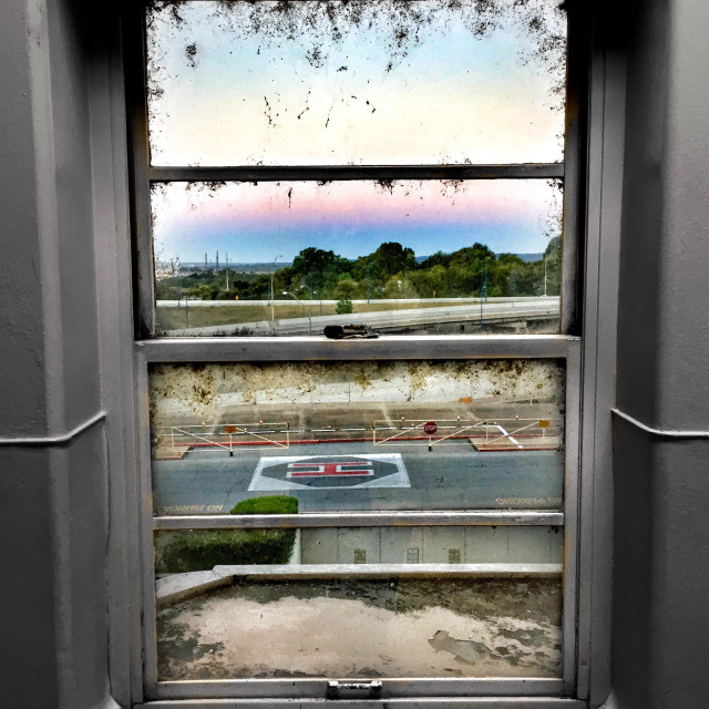 """""""View from old hospital window"""" stock image"""