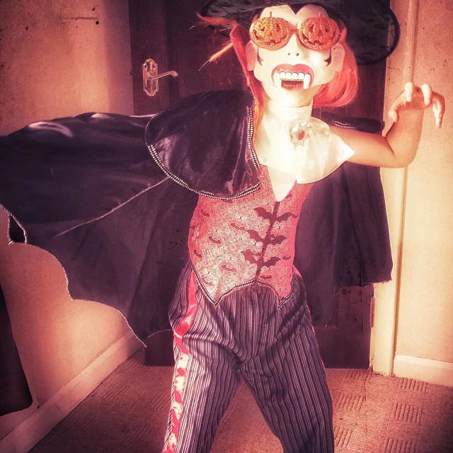 """Boy dressed up for Halloween. Vampire child."" stock image"