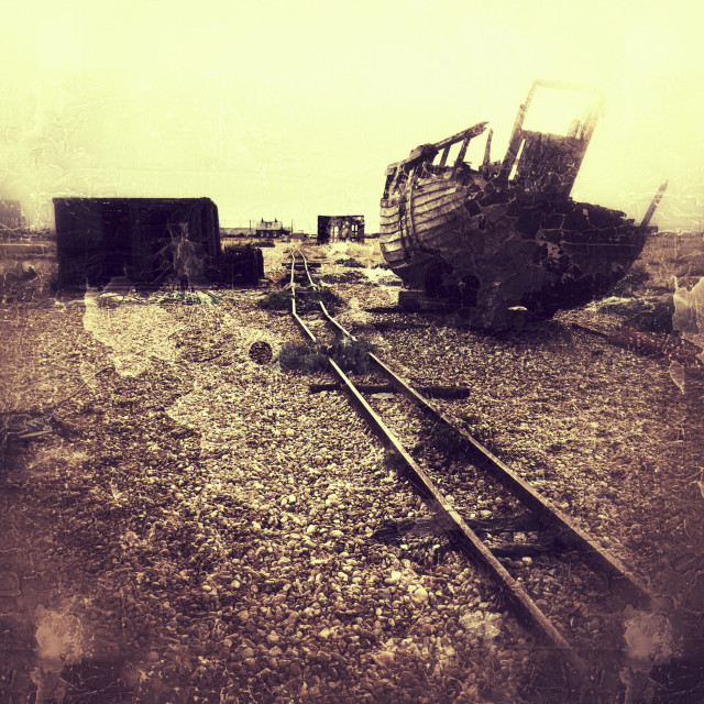 """Ghost of old times past, Dungeness spit, Kent, UK"" stock image"