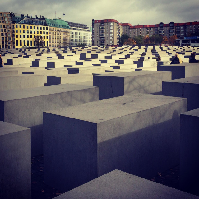 """Autumn in Berlin. Holocaust memorial."" stock image"