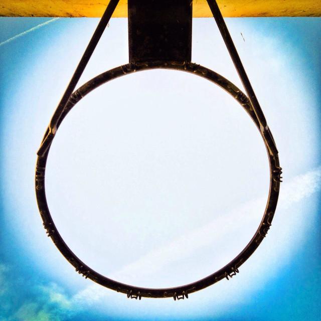 """""""Basketball hoop metal ribg viewed from below"""" stock image"""
