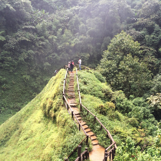 """""""Walk way to the small hill nearby water fall in Laos"""" stock image"""