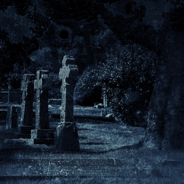 """""""A dark and scary graveyard."""" stock image"""