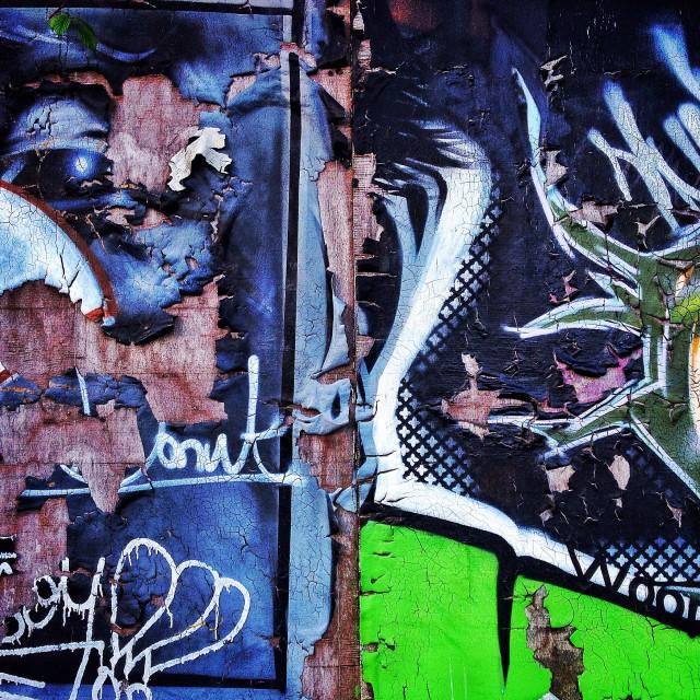 """Peeling street art Bath uk"" stock image"