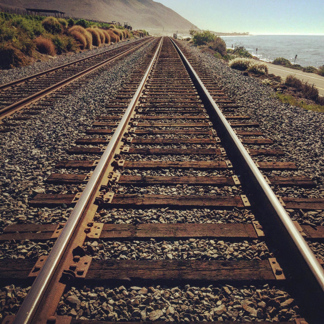 """Pacific Coast Train Tracks"" stock image"