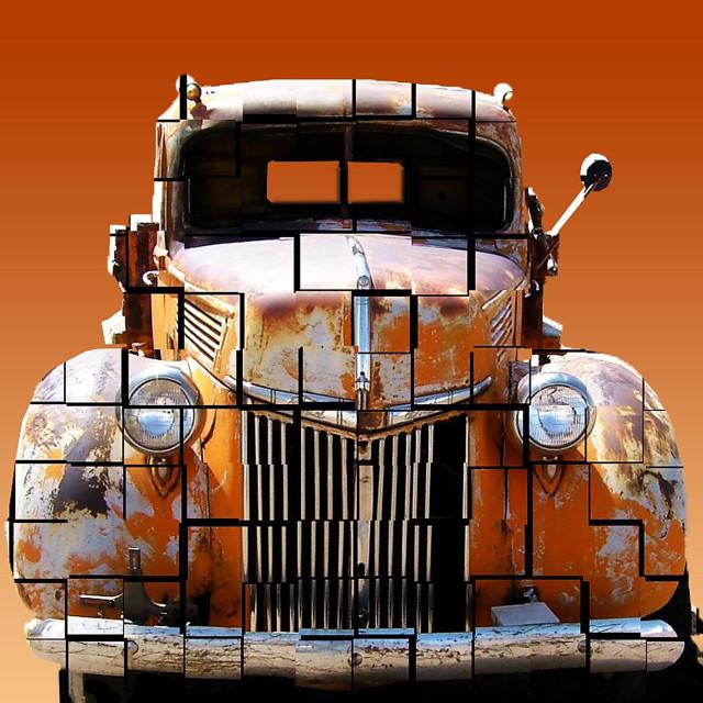 """""""Antique orange truck"""" stock image"""