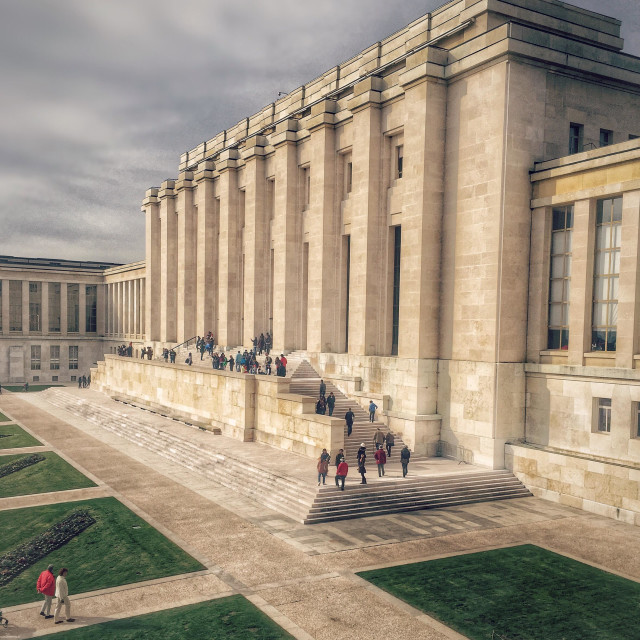 """Palais des Nations, the UN headquarters in Geneva, Switzerland"" stock image"