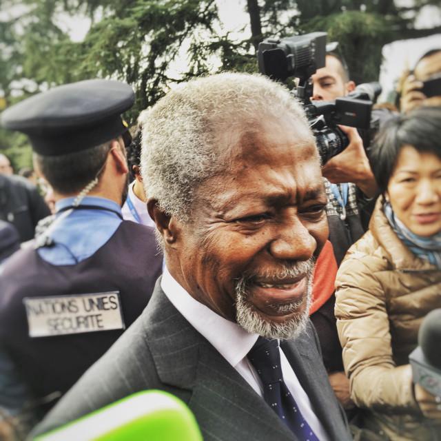 """Kofi Annan, former UN Secretary General, at the Palais des nations, Geneva"" stock image"