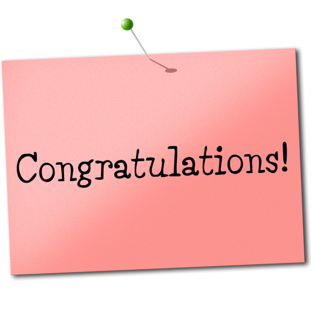 """""""Congratulations Sign Shows Placard Salutations And Greeting"""" stock image"""