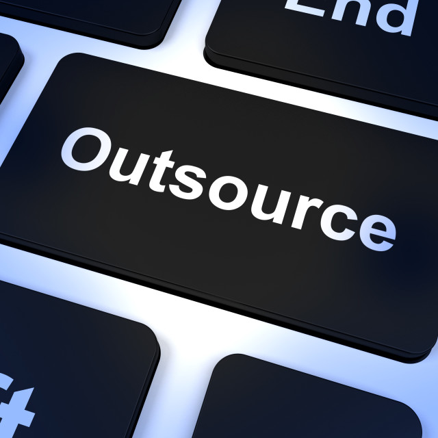 """Outsource Key Showing Subcontracting And Freelance"" stock image"