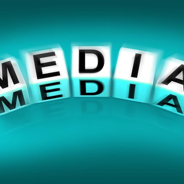 """""""Media Blocks Displays Radio TV Newspapers and Multimedia"""" stock image"""