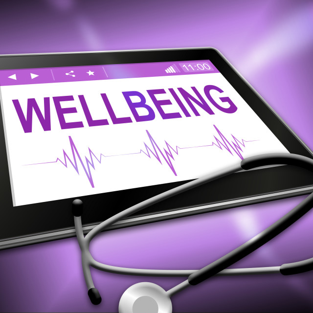 """Wellbeing Tablet Represents Preventive Medicine And Computer"" stock image"