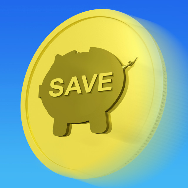 """""""Save Gold Coin Means Price Slashed And On Special"""" stock image"""