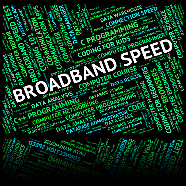 """Broadband Speed Shows World Wide Web And Computer"" stock image"