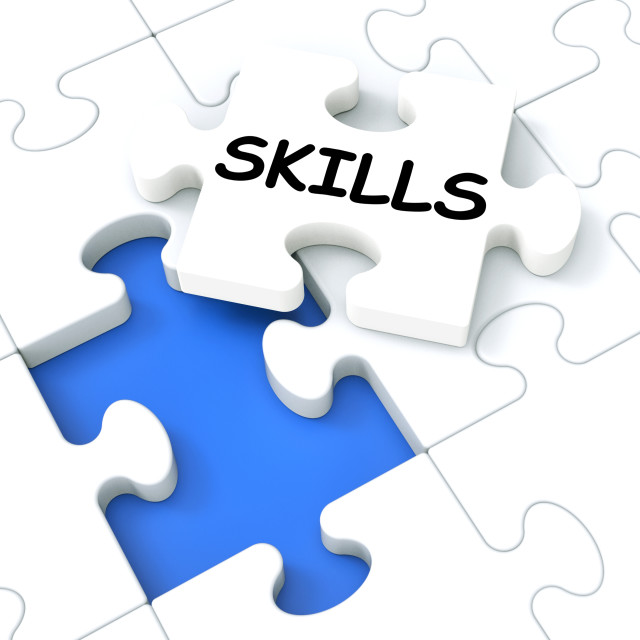 """""""Skills Puzzle Shows Aptitudes And Talents"""" stock image"""